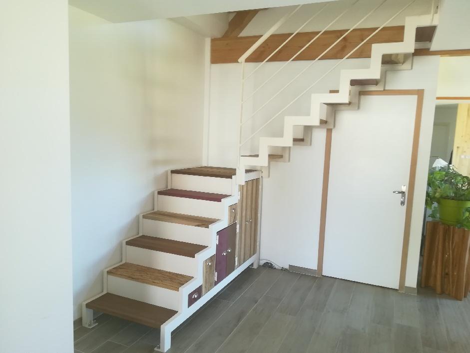 Escalier en acier avec bois de Guyane